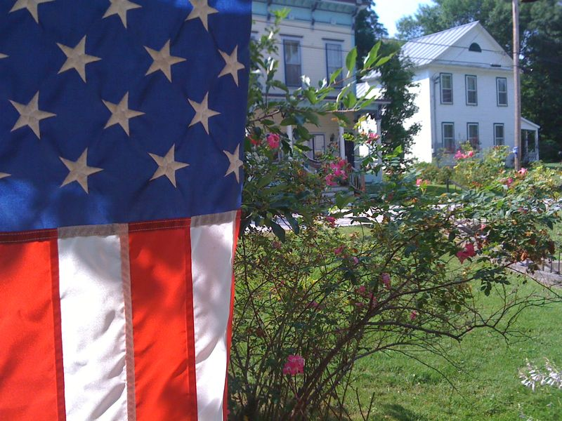 Flag from porch