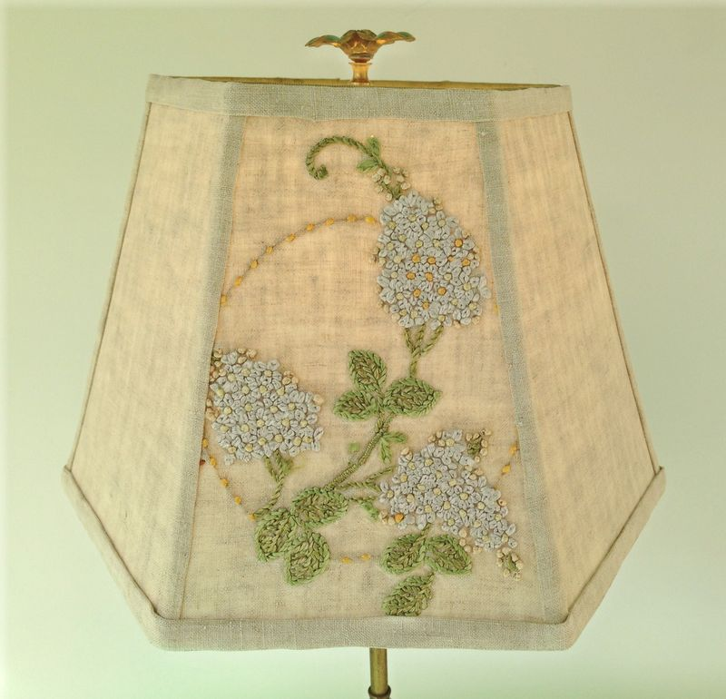 Lilac crewel lampshade
