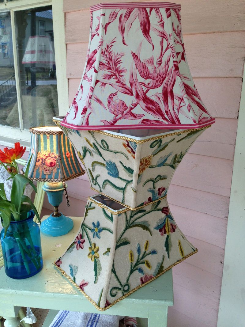 Toile and crewel lampshades