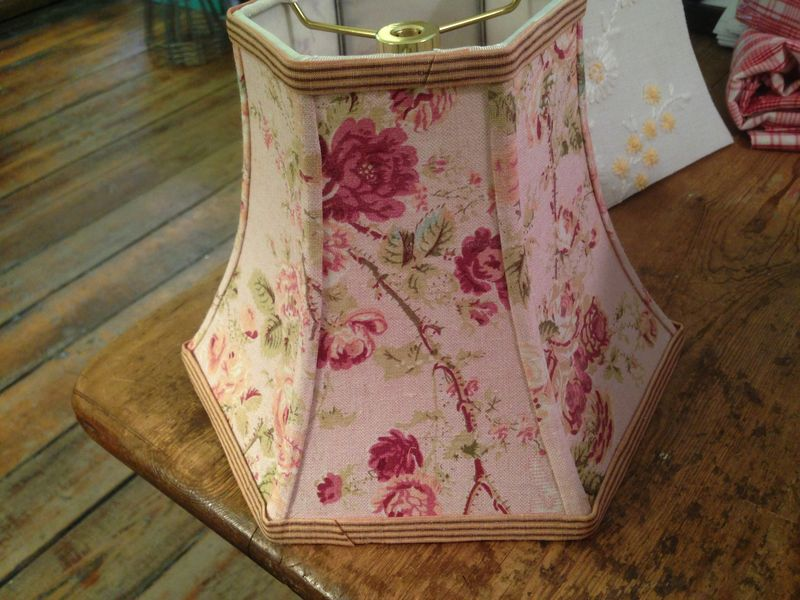 Vintage french hex bell lampshade