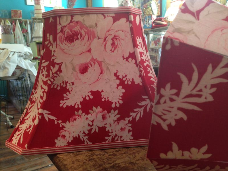 Vintage french red floral lampshade