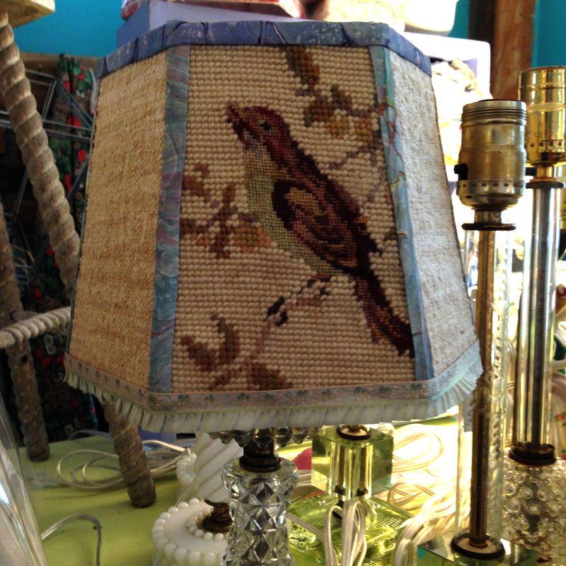 Bird needlepoint lampshade