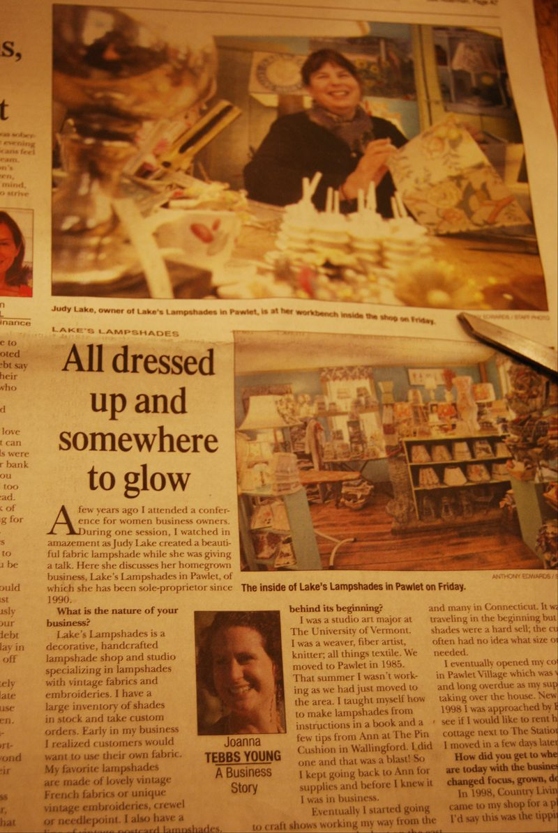Rutland herald article lakes lampshades