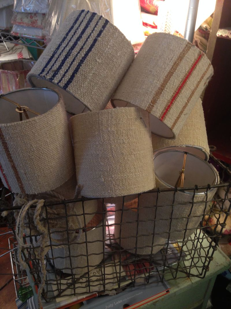 Basketful of drum candle clip shades in grain sack fabric