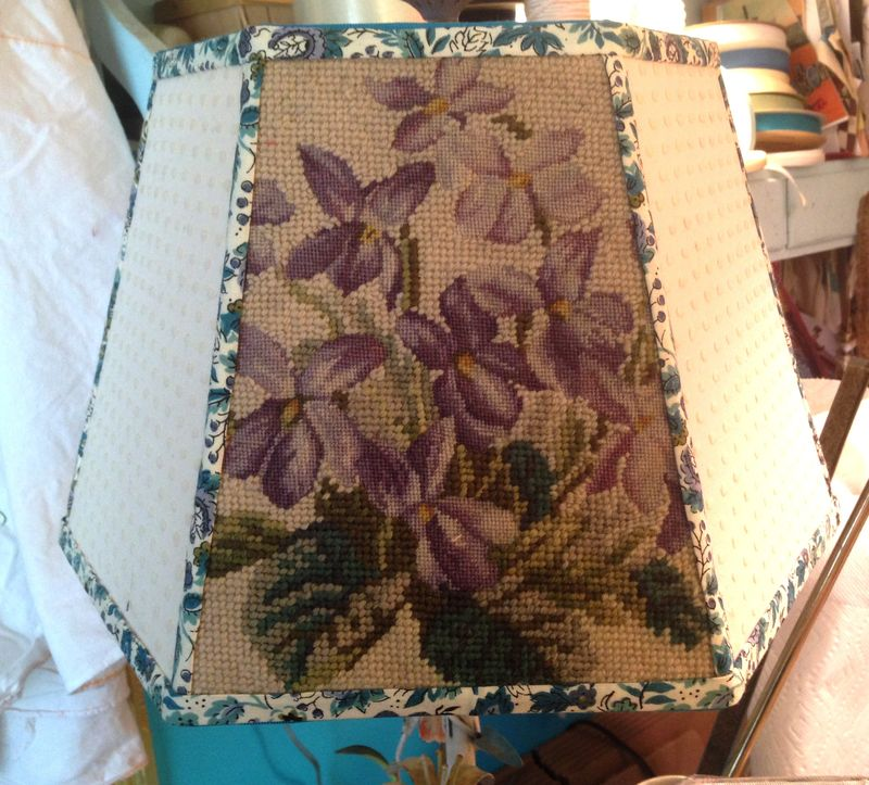 Violet needlepoint lampshade