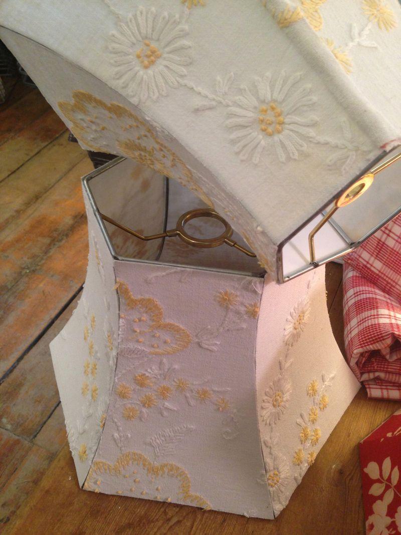 Crewel lampshades in progress