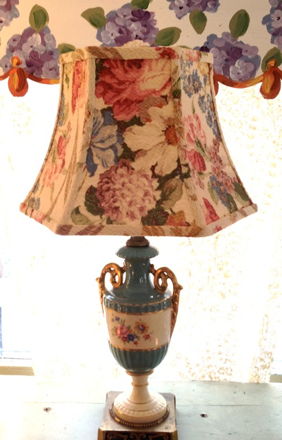 Bark cloth hex bell lampshade